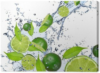 Canvas Print Limes falling in water splash, isolated on white background