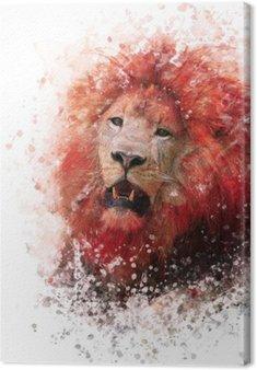Lion Head watercolor Canvas Print