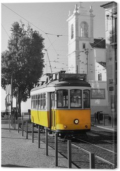 Canvas Print Lisbon old yellow tram over black and white background
