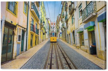Canvas Print Lisbon, Portugal Old Town Cityscape and Tram