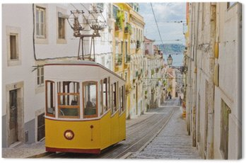 Canvas Print Lisbon's Gloria funicular connects downtown with Bairro Alto.