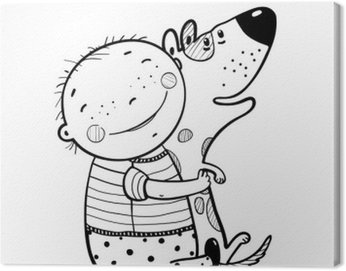 Canvas Print Little Boy Hugs Dog Best Happy Friends Outline