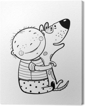 Little Boy Hugs Dog Best Happy Friends Outline