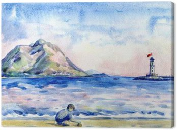 little boy on the beach. Seascape with lighthouse. Watercolor painting