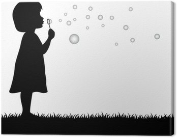 Canvas Print little girl blowing soap bubbles