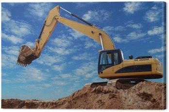 Canvas Print Loader excavator with raised boom