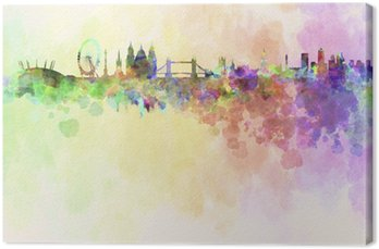 London skyline in watercolor background Canvas Print