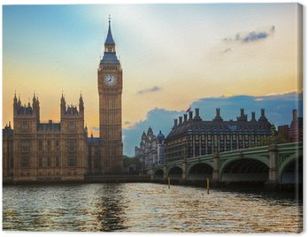 London, the UK. Big Ben, the Palace of Westminster at sunset Canvas Print