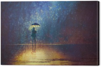 lonely woman under umbrella lights in the dark,digital painting Canvas Print