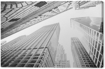 Looking up at skyscrapers in Manhattan, New York City, USA