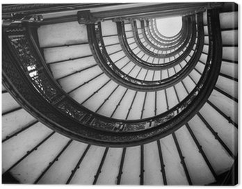 Canvas Print Low angle view of spiral staircase, Chicago, Cook County, Illino