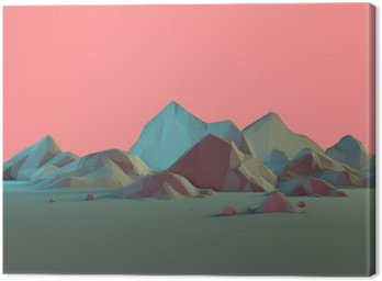 Canvas Print Low-Poly 3D Mountain Landscape with Pastels
