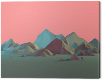 Canvas Print Low-Poly 3D Mountain Landscape with Pastels