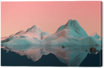 Low-Poly 3D Mountain Landscape with Water and Reflection Canvas Print