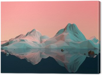 Canvas Print Low-Poly 3D Mountain Landscape with Water and Reflection