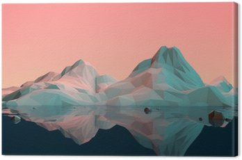 Low-Poly 3D Mountain Landscape with Water and Reflection
