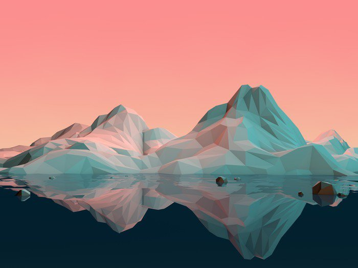 Canvas Print Low-Poly 3D Mountain Landscape with Water and Reflection - Sports