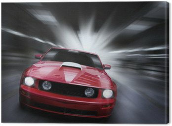 Canvas Print Luxury red sport car speeding in a underground parking