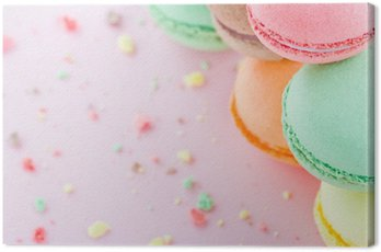 Canvas Print Macaroons on pastel pink background