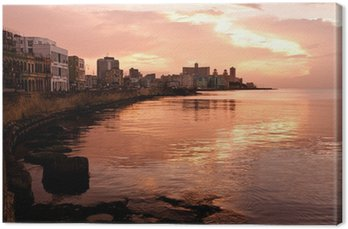 Canvas Print Malecon at Sunset. Havana (Cuba)