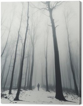 man in forest with tall trees in winter