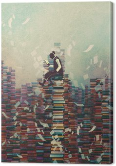 man reading book while sitting on pile of books,knowledge concept,illustration painting Canvas Print