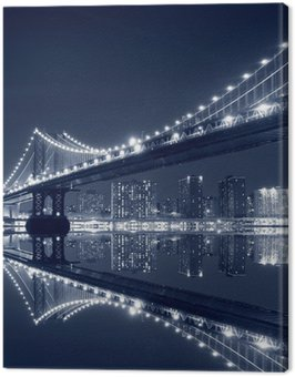 Canvas Print Manhattan Bridge and Manhattan skyline At Night