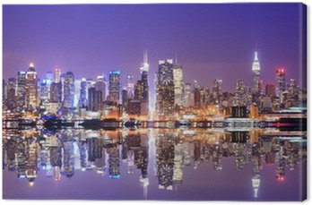 Canvas Print Manhattan Skyline with Reflections