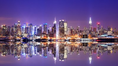 Manhattan Skyline with Reflections