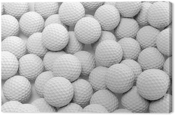 Canvas Print Many golf balls together closeup isolated on white