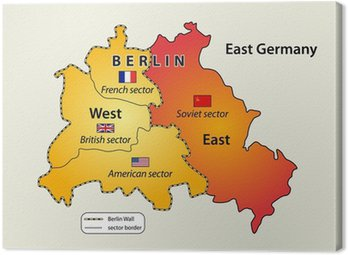 Canvas Print Map of Berlin wall (1961 - 1989) in Cold war.