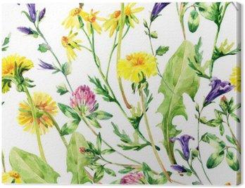 Meadow watercolor wild flowers seamless pattern