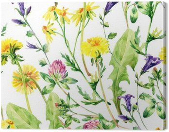 Canvas Print Meadow watercolor wild flowers seamless pattern