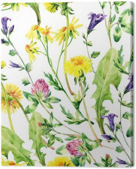 Meadow watercolor wild flowers seamless pattern