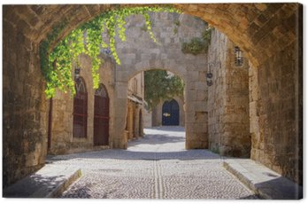 Canvas Print Medieval arched street in the old town of Rhodes, Greece