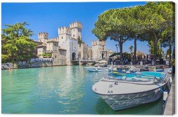 Canvas Print medieval castle Sirmione on lake Lago di Garda