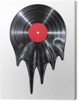 Melting vinyl record / 3D render of vinyl record melting