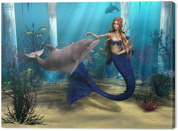 Canvas Print Mermaid and Dolphin
