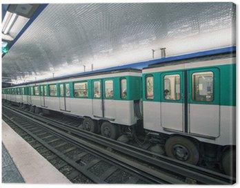 Metro train in Paris. Underground parisian scene - France Canvas Print