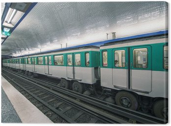 Canvas Print Metro train in Paris. Underground parisian scene - France
