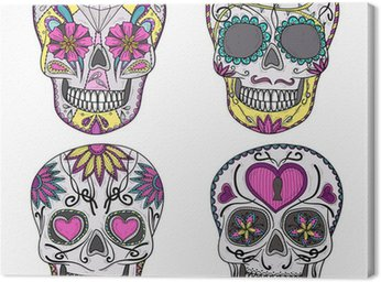 Canvas Print Mexican skull set. Colorful skulls with flower and heart ornamen