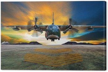 Canvas Print military plane landing on airforce runways against beautiful dus