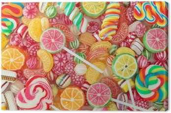 Canvas Print Mixed colorful fruit bonbon close up