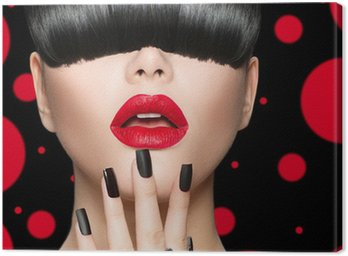 Model Girl Portrait with Trendy Hairstyle, Makeup and Manicure Canvas Print