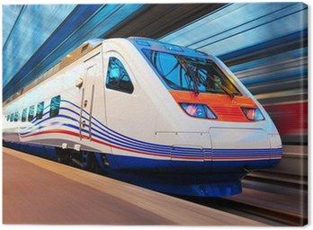 Canvas Print Modern high speed train with motion blur