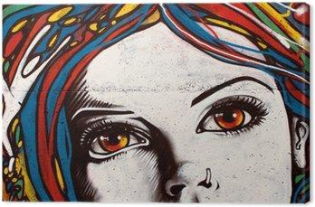 Modern style graffiti on brick wall. Canvas Print