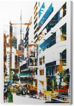modern urban city,illustration painting Canvas Print