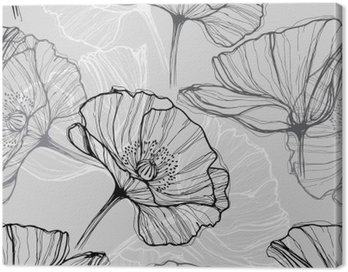 Canvas Print Monochrome seamless pattern with poppies. Hand-drawn floral background