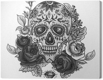 Canvas Print Monochrome Skull, diamond and Flowers Card