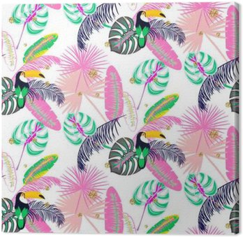 Monstera tropic pink plant leaves and toucan bird seamless pattern. Exotic nature pattern for fabric, wallpaper or apparel. Canvas Print